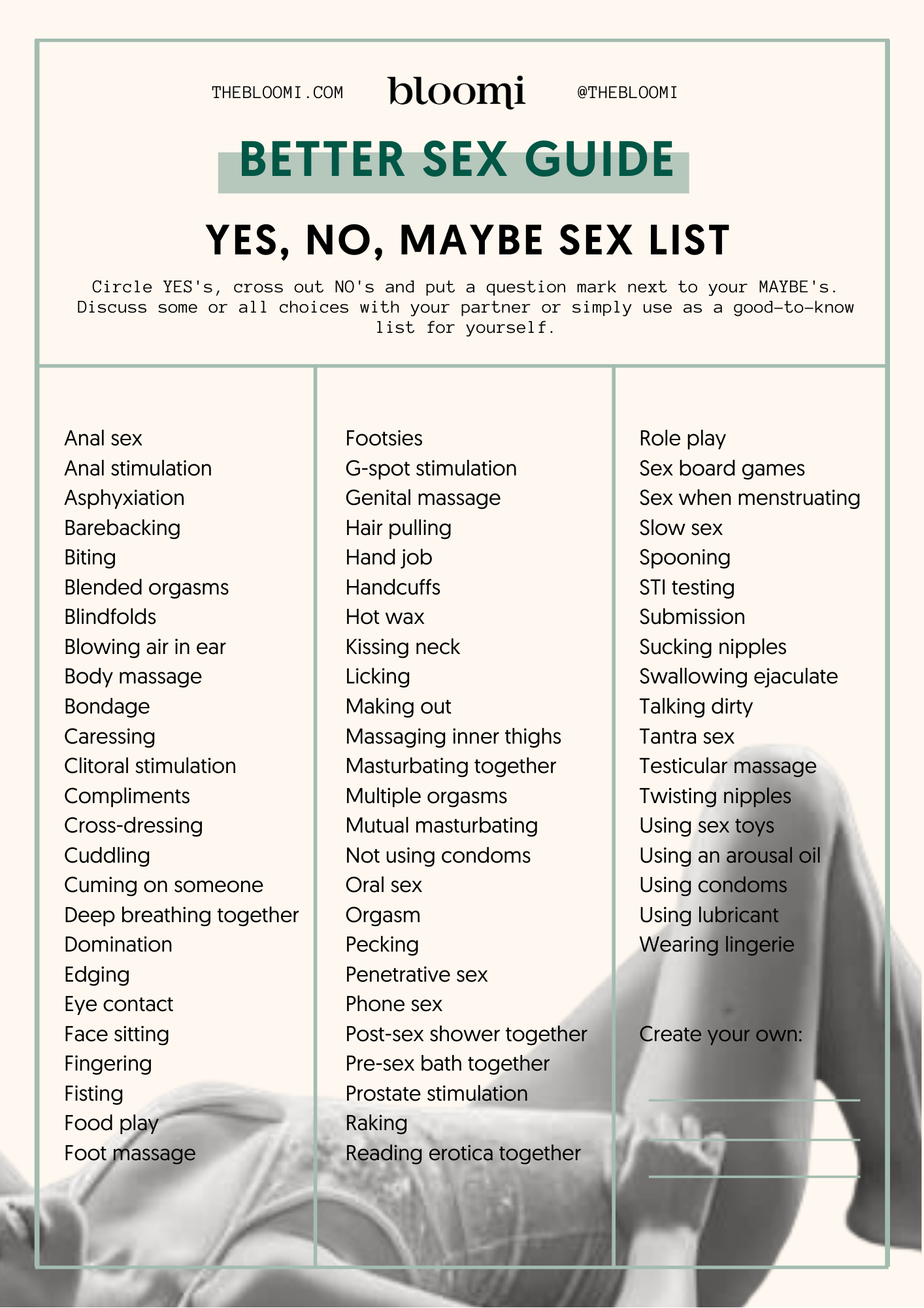 Bloomis better sex guide: yes, no, maybe list - Intimate